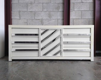 Summer Sale Vintage White Lacquered & Chrome Dresser Credenza Chest