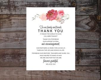Wedding thank you, elegant thank you,  Guest Thank you, watercolor wedding, pdf, reception thank you, blush, thank you, printable, reception