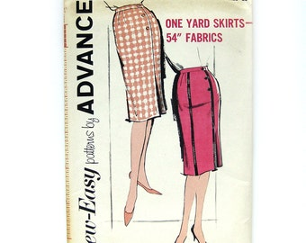 1 Yard Skirts - Slim Fit Wrap Skirt Pattern Wiggle Skirt / 1960 Vintage Sewing Pattern - Advance 2770 / Uncut FF / 24 Waist or 26 Waist