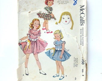 1950s Girls Vintage Pattern - Girl's Party Dress and Petticoat with Embroidered Novelty Pocket - McCall's  1950 // Size 8