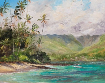 SPRECKS BEACH MAUI Original Palette Knife Oil Painting 11x14 Art Spreckelsville Hawaii Ocean Palm Tree Hawaiian Tropical Island Mountains