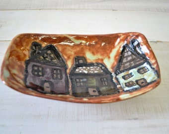 Hand Sculpted Hand Painted Clay House Dish