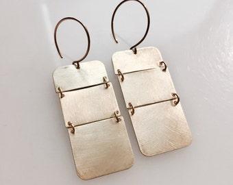 Brass Hinged Rectangle Earrings