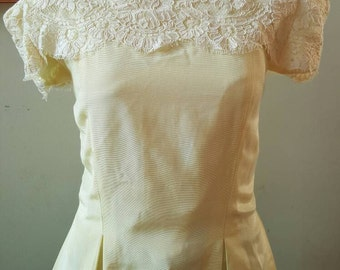 Vintage Yellow Peplum Top with Lace