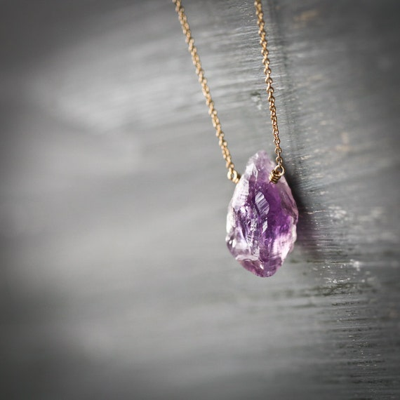 Raw Amethyst Gold Filled Necklace