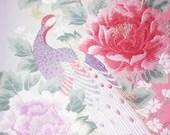 Japanese Kimono Wedding Obi Silk Piece Birds Phoenix Peony Flowers Blossom Leaves