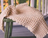 RTS Small Thick Ivory Baby Blanket Crocheted Photography Prop