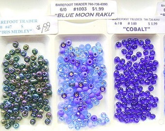 BEADS, CZECH,  6/0 , Blues,GLASS, Seed,  Rocailles, 6/0, Spacer,  Mix, 36 Inch, Crystal, I