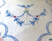 Vintage Chenille Bedspread White and Blue - Cotton - Full Size or Queen Size
