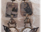 Tin Type Earrings with French Pen Nibs