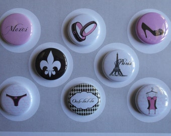 French Lingerie Shower Flair Buttons-YOU CHOOSE STYLE