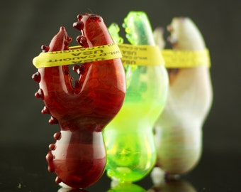 Lobster Claw Glass Spoon Pipe Hand Blown Thick Wall in YOU CHOOSE the COLOR, Made to Order