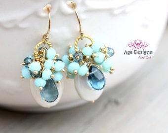 Paola Earrings  - fresh earrings with big Fresh water Pearls and Garnet
