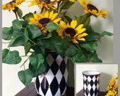 Painted Glass Vase // Harlequin Vase // Whimsical Painted Vase