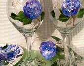 Hydrangea Glassware // Painted Hydrangea Wine Glass // Painted Hydrangea