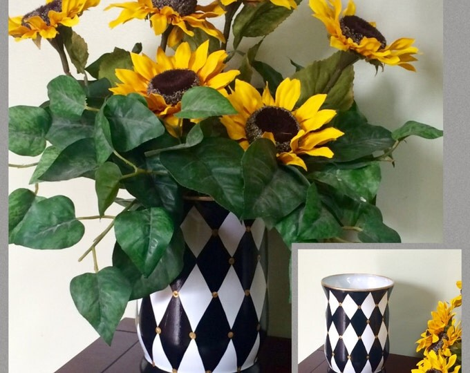 Painted Glass Vase // Harlequin Vase // Whimsical Painted Vase