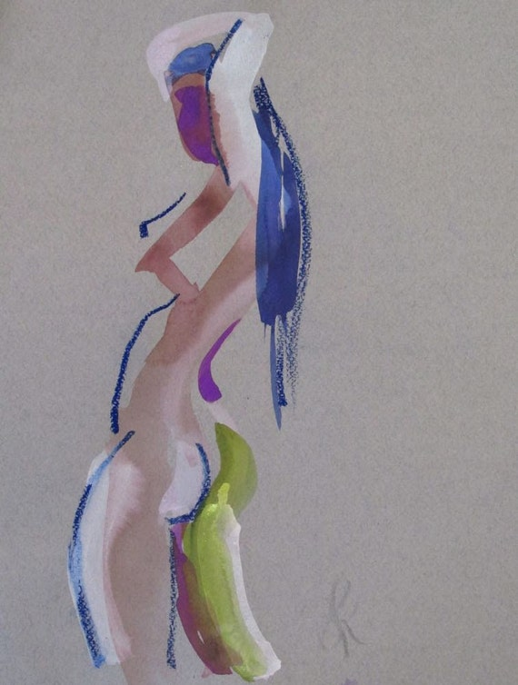 Nude painting- One minute pose 88.6, nude art, original, gesture sketch by Gretchen Kelly