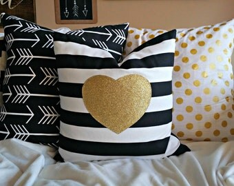 Modern Gold Sparkle Heart Pillow Cover - Gold Heart on Black and White Stripe - 16 x16