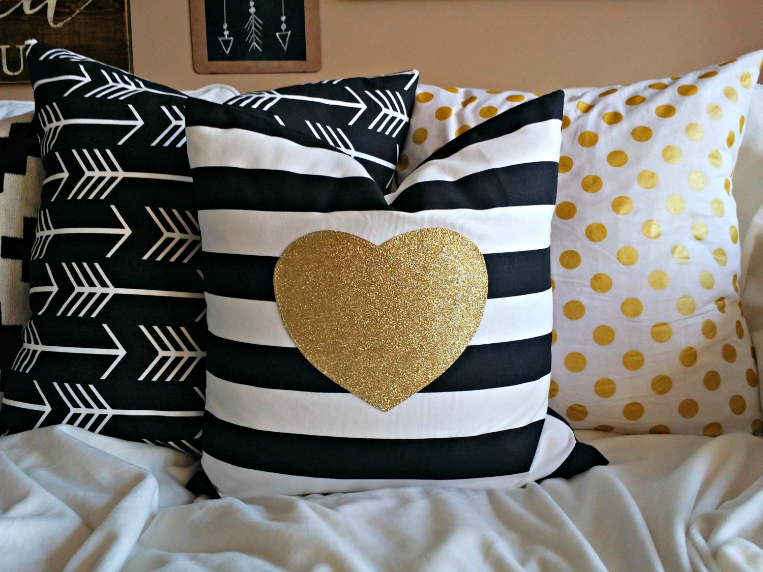 Modern Gold Sparkle Heart Pillow Cover Gold Heart On Black