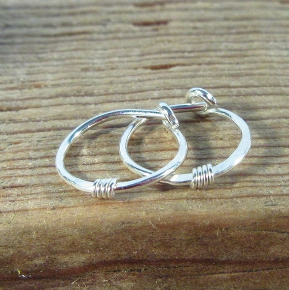 Hoop Earrings Silver Hammered & Wrapped Silver Wrap - Tragus Piercing, Rook Piercing, Daith Piercing, Cartilage Piercing, Helix Piercing