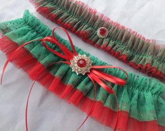 Christmas Wedding Garter Set Red Green Tulle Garter Set Wedding Bridal