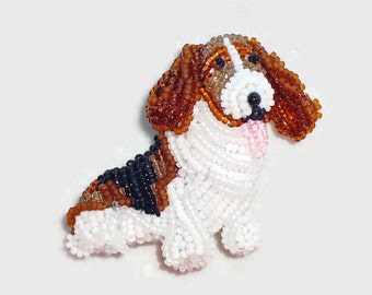 Beaded BASSET HOUND keepsake dog pin pendant art jewelry- Gift for Her/ Ready to Ship/ Free US Shipping