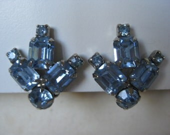 Blue Rhinestone Earrings Clip Vintage Silver