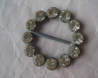 Rhinestone Buckle Vintage Clear Silver Circle Round