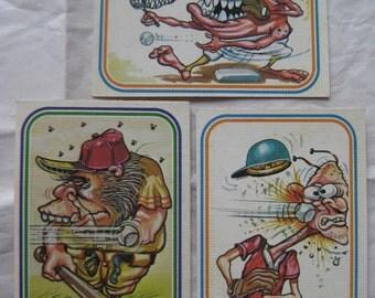 Baseball Super Freak Card Stickers Vintage Three 3 Donruss