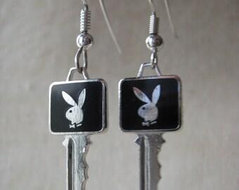 Playboy Bunny Key Earrings Pierced Wire Enamel Black Silver Dangle Vintage