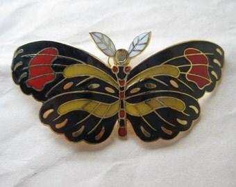 Butterfly Moth Black Red Brooch Gold Enamel Vintage Pin Cloisonné Pendant
