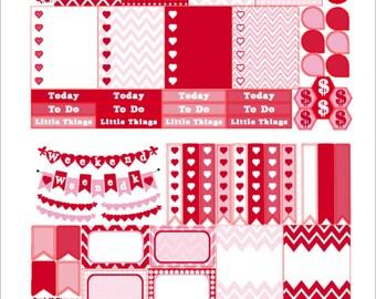 VALENTINES, NEW Planner Stickers, Feb. Checklist Sticker, Free Planner Calendar, Weekend Sticker, Flag Stickers, Feb. Sampler2