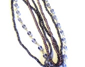 "4 Strands of  Beads, Lavender Purple Beaded Chain,  2-4mm, 14-16"" Strands, Jewelry Supplies P4"