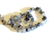 "Destash Beads,  Tourmalated Quartz Small Chips, 15"" Strand, Gray White Semi Precious Gemstone Beads, Jewelry supplies, DIY"