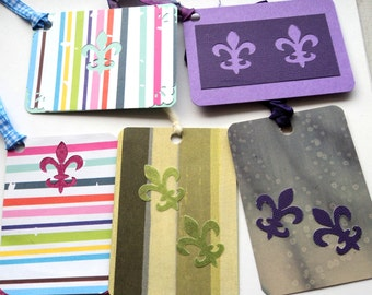 5 Gift Tags, Hang Tags, Fleur De Lis Tags in Different Colors, handmade, Party Favor Tags
