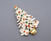 Eisenberg Ice Christmas Tree Brooch Rhinestone Jewelry P6214
