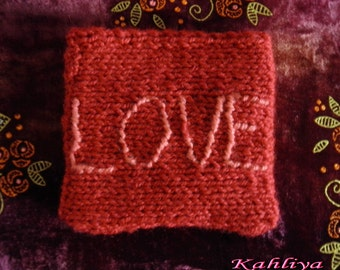 Fuchsia Pink Hand knitted mini Love Pouch