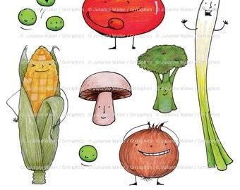 More happy talking veggies digital illustrations!