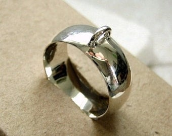 Bali Sterling Silver Wide Ring Base Blank with Loop - Size 7