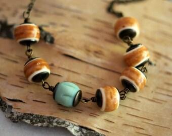 50% Off Caramel Brown Necklace, Mint Green, Aqua Green, Vintage Lucite Beads, Retro Modern, Boho, Bohemian,Rustic