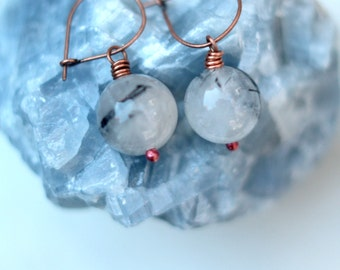 Rutilated Quartz Earrings, Copper Dangles, Black, White Gemstone Drops