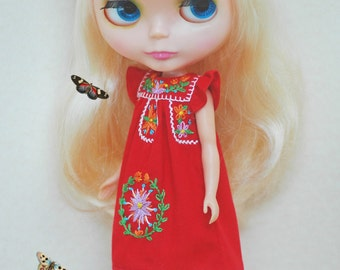 Pre-order Mexican Embroidery Dress for Blythe