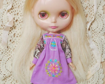 Pre-order Mexican Embroidery Maxi Dress for Blythe-Purple