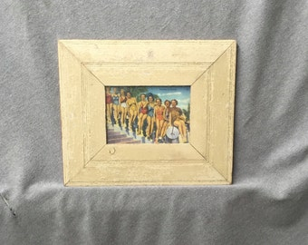 Salvaged Recycled 5x7 Cream Sage Green Wood Cream Molding Photo Picture Frame Shabby old Chic 348-16