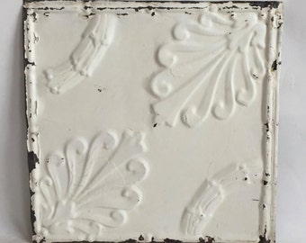 "AUTHENTIC 1890's Tin Ceiling Tile Panel Ivory 12""x 12"" Arts and Crafts  RECLAIMED 84-16"