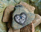 Two Heart Mosaic Rock, Valentine, Garden Stone, Paperweight