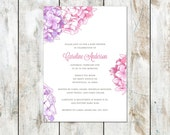 Sweet Southern Baby Shower Invitation - Pink and Lavendar Hydrangea Baby Shower Invitation - Printable Southern Shower Invitation