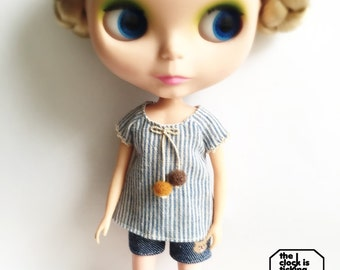 Striped top for Blythe (Blue)