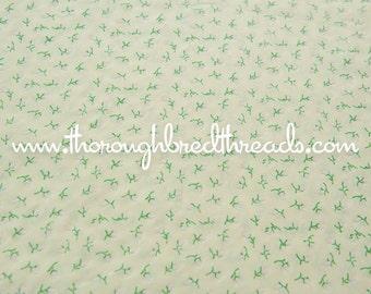 Romantic Flocked Rosebuds  - Vintage Fabric Sewing Juvenile Yellow Roses