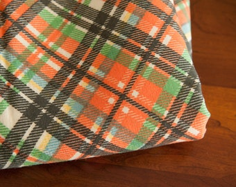 Mad About Plaid - Vintage Fabric Multi-Colored Preppy Orange Navy Green